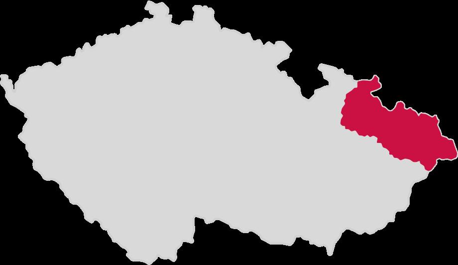 Moravskoslezský kraj vyobrazený na mapě České republiky